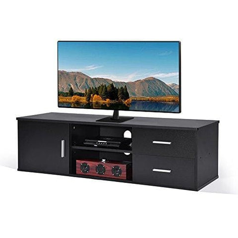 Add One +1 Wooden Single-Door Tv Stand Tv Unit Storage Console With Two Drawer Black