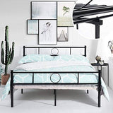 Aingoo Double Bed Frame Metal Platform Bed With Strong Metal Slats For Adults Children Kids In Black Fits 135 * 190 Cm Mattress