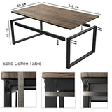 Aingoo Industrial Style Coffee Cocktail Table With Black Metal Frame For Living Room Office Kitchen Brown