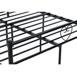 Aingoo Metal Double Bed 4Ft 6 Bed Frame Solid Bedstead Base Heart-Shaped Large Storage Space Children Adults Black
