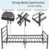 Aingoo Metal Double Bed Frame For Adults Kids Children 4Ft 6 Bed With 10 Legs And Two Headboards Fits For 135 * 190 Cm Mattress Black