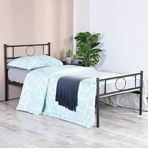 Aingoo Single Bed Frame 3Ft Metal Bed Platform With Headboard For Children Adults In Black Fits For 90 * 190 Cm Mattress Black