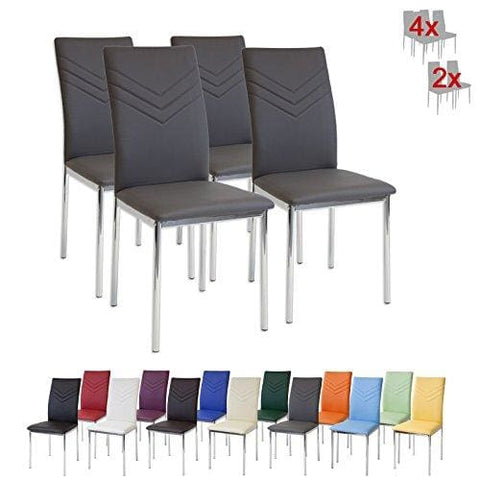 Albatros 2936 Verona Dining Chairs Set Of 4 Grey Chrome Feet Sgs Tested