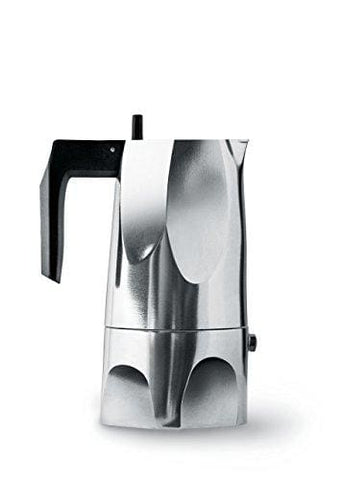 Alessi 3-Cup Ossidiana Espresso Coffee Maker In Aluminium Casting Handle With Knob In Thermo Plastic Resinblack