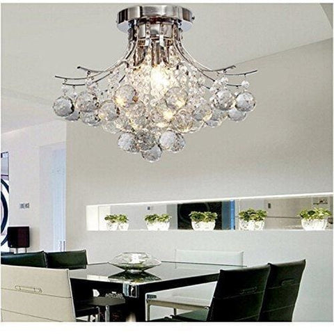 Alfred® Chrome Finish Crystal Chandelier With 3 Lights Mini Style Flush Mount Ceiling Light Fixture For Study Room/office Dining Room