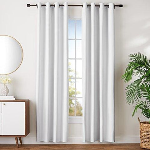 Amazonbasics Room-Darkening Blackout Curtain Set With Grommets -228 X 168 Cm White