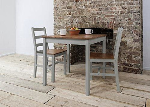 Annika Dining Table And 2 Chairs Bistro Set In Silk Grey And Natural Pine