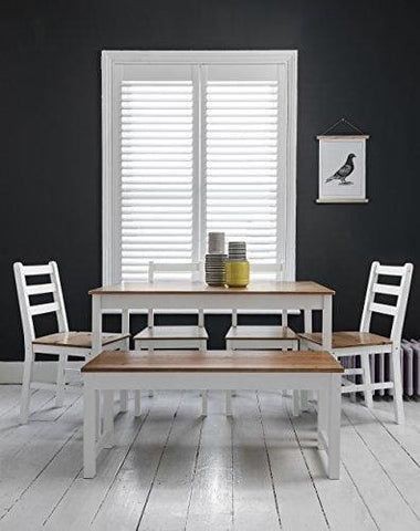 Annika Dining Table And 4 Chairs And Bench In White And Natural Pine Noa & Nani