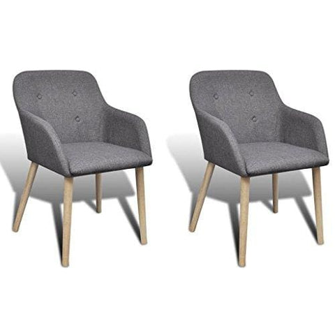 Anself 2 Pcs Fabric Dining Chair Set Oak Legs Dark Grey