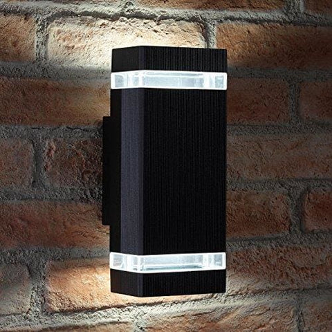 Auraglow Indoor / Outdoor Double Up & Down Wall Light - Black - Cool White Led Bulbs Included