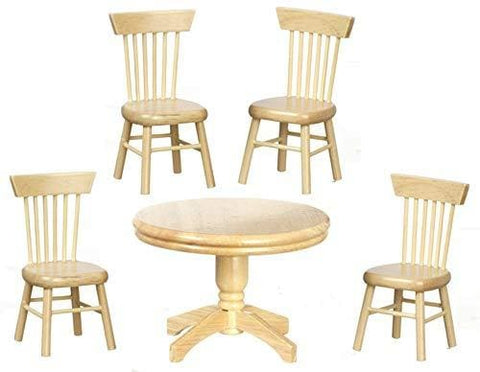 Aztec Imports Dolls House Miniature Light Oak Dining Room Suite Round Table 4 Chairs
