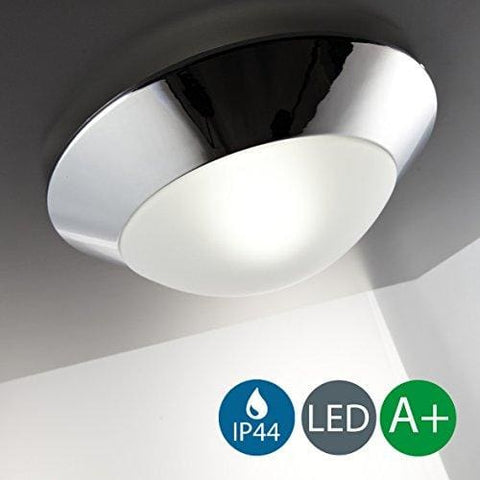 Bathroom Ceiling Light I Splash-Proof Lamp I Matt White Chrome Design I Warm White I Metal Plastic And Glass I Maxx 40 Watt I Ip44 I E27 I