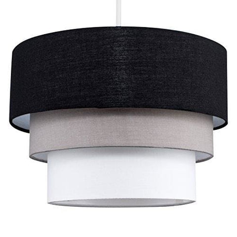 Beautiful Round Modern 3 Tier Black Grey And White Fabric Ceiling Designer Pendant Lamp Light Shade