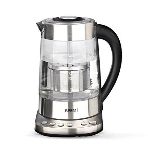 Beem Germany Water Glass Kettle 1110Sr 2000W 1 7L Adjustable Temperatures And Special Tea Filter Compartment Blue Illumination Stainless