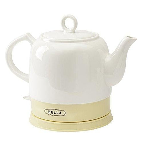 Bella Kettles - Electric Ceramic Cordless White Kettle Teapot - Retro 1.2L Jug 1750W Boils Water Fast For Tea Coffee Soup Oatmeal -