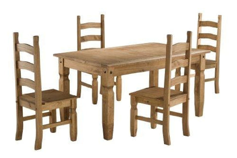 Birlea Corona 5Ft Dining Set (Table & 4 Chairs) Waxed Pine