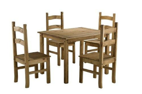 Birlea Corona Dining Set With 4 Chairs - Waxed Pine