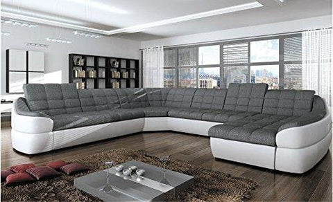 Bmf Infinity Xl White Grey 6-Seater Extra Large Faux Leather & Fabric U Shape Corner Sofa Bed Comfort - Right Facing - 390Cm X 310Cm