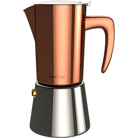 Bonvivo Intenca Stove-Top Italian Espresso Maker Moka Pot Made Of Stainless Steel With Copper Chrome Finish For Full Bodied Stove Top Coffee
