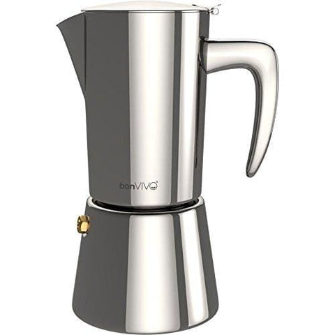 Bonvivo Intenca Stove-Top Italian Espresso Maker Moka Pot Made Of Stainless Steel With Silver Chrome Finish For Full Bodied Stove Top Coffee