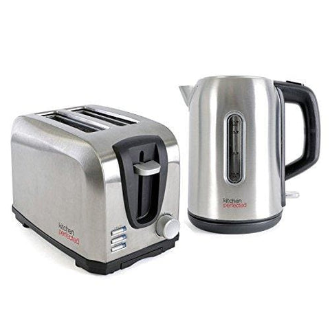 Brushed Stainless Steel Cordless 2200W Fast Boil Electric Jug Kettle And 700W 2 Slice Toaster Set
