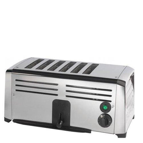 Burco Br0016 6-Slot Stainless Steel Commercial Toaster Silver
