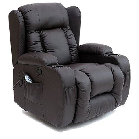 Caesar 10 In 1 Winged Leather Recliner Chair Rocking Massage Swivel Heated Gaming Armchair (Brown)