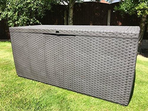Capri Keter Plastic Rattan Garden Storage Box Brown Waterproof Deck Box
