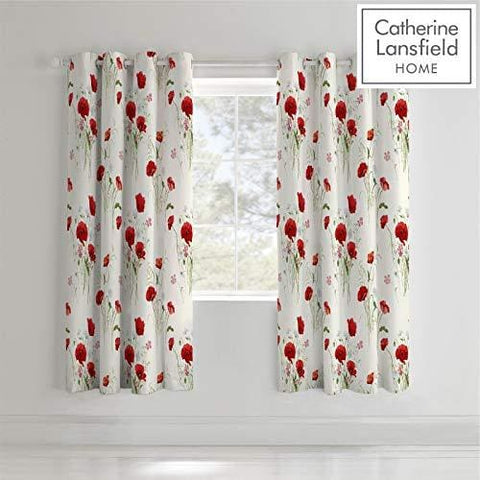 Catherine Lansfield Wild Poppies Easy Care Eyelet Curtains Multi 66X72 Inch