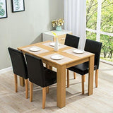 Cherry Tree Furniture 5-Piece Dining Room Set 4-Seater Dining Table With 4 Chairs Oak Colour Table With Black Pu Leather Seats