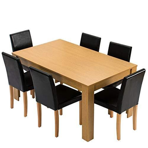 Cherry Tree Furniture 7-Piece Dining Room Set 6-Seater 150 X 90 Cm Dining Table With 6 Chairs Oak Colour Table With Black Pu Leather Seats