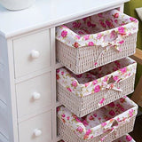 Cherry Tree Furniture White 5-Layer Chest Of Drawers With Wicker Baskets