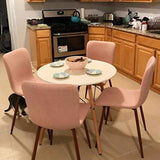 Coavas Dining Chairs Set Of 4 Fabric Cushion Kitchen Table Chairs With Sturdy Metal Legs For Dining Room Chairs Pink