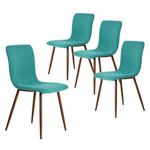 Coavas Dining Chairs Set Of 4 Fabric Cushion Kitchen Chairs With Sturdy Metal Legs For Dining Room Chairs Green