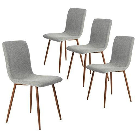 Coavas Dining Chairs Set Of 4 Fabric Kitchen Chairs With Sturdy Metal Legs For Dining Room Grey