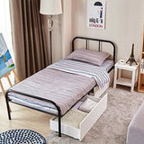 Coavas Single Metal Bed Frame 3Ft Single Solid Bedstead Base With 2 Headboard For Adults Kids Teenagers Black Fit 90 * 190 Mattress