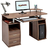 Computer Desk With Shelves Cupboard And Drawers For Home Office In Dark Walnut Effect - Piranha Furniture Tetra Pc 5W