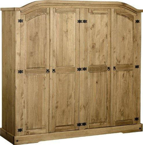 Corona 4 Door Wardrobe - With Shelfs & Hanging Space Mexican Solid Pine