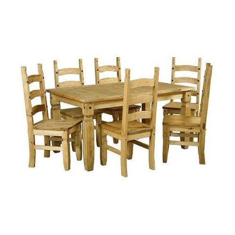 Corona 6 Foot Table 6 Seater Dining Set In Distressed Waxed Pine