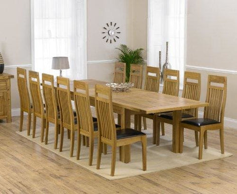 Corona Oak Dining Furniture Extra Large Extending Dining Table And 12 Monte Carlo Chairs