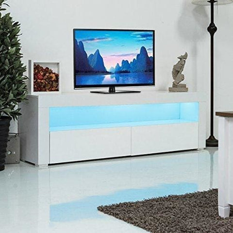 Costway 120/157/200Cm Tv Unit Cabinet W/drawer & Led Lighting Modern Television Stand Furniture For Bedroom Living Room Home (157Cm Length