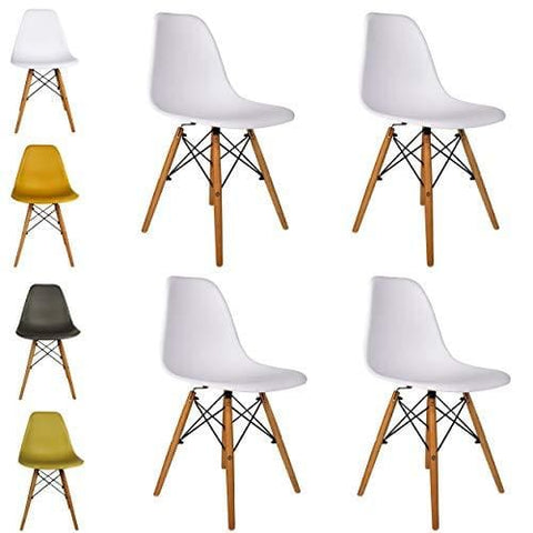 Cosy7 Luna Collection Eiffel Style Dsw Modern Dining Chairs White Set Of 4 | Solid Beech Wooden Legs Comfy Seat Well Blended Colours &