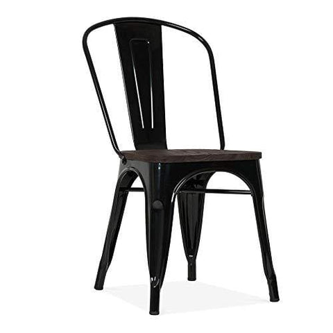 Cult Furniture Xavier Pauchard Tolix Style Metal Side Chair With Wood Seat Option - Black