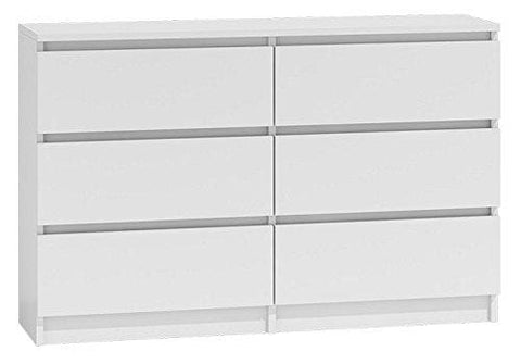 Daily Deal Offers Modern Design Large Wide 6 Drawer Chest Of Drawers (Matt White)