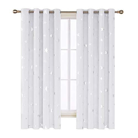 Deconovo Stars Foil Printed Thermal Insulated Curtains Eyelet Blackout Curtains For Nursery 46 X 72 Inch Greyish White One Pair