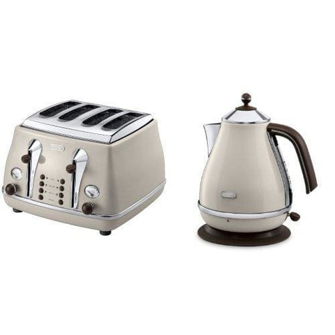 Delonghi Vintage Icona Dolcevita Jug Kettle And 4 Slice Toaster Bundle - Cream