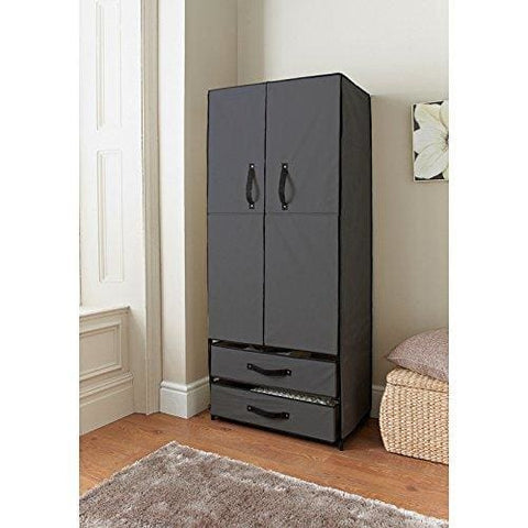Deluxe Double Door Wardrobe Grey Bedroom Storage Organizer