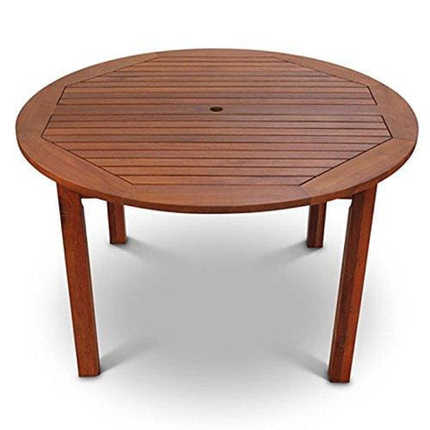Devon Hardwood Wooden Round Outdoor Dining Table To Seat 4 - Wood Garden Table 120 Centimeters Diameter