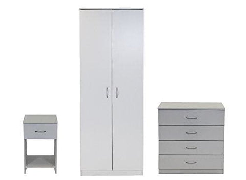 Devoted2Home Boldon White Bedroom Furniture 3 Piece Set-Wardrobe 4 Drawer Chest Bedside Cabinet Wood 49.8X66.8X180 Cm