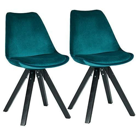 Dining Chairs Set Of 2 Cyan Blue Teal Fabric Cover Velvet Chairs Retro Design With Wooden Legs Colour Selection Duhome 518Em